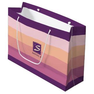 Grand Sac Cadeau Monogramme de rayure de palette de couleurs de