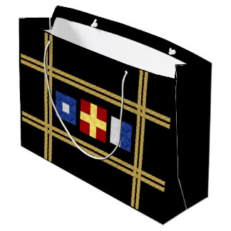 Grand Sac Cadeau Monogramme maritime nautique de drapeau de signal