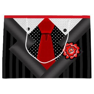 Grand Sac Cadeau Monsieur élégant dans blanc et rouge noirs