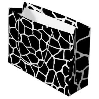 Grand Sac Cadeau Motif animal d'impression noir et blanc de girafe