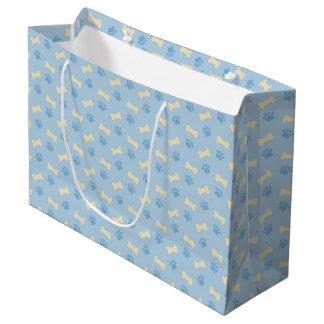 Grand Sac Cadeau Motif bleu d'os d'empreinte de patte