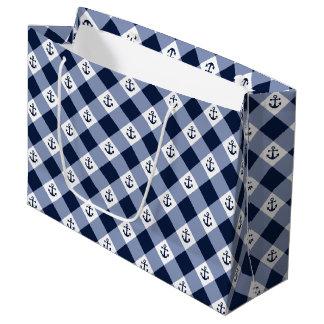 Grand Sac Cadeau Motif checkered nautique diagonal de guingan