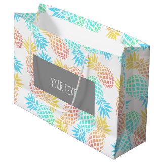 Grand Sac Cadeau motif coloré tropical d'ananas d'été élégant