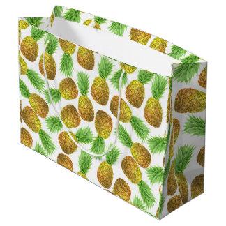 Grand Sac Cadeau Motif d'aquarelle d'ananas