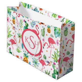 Grand Sac Cadeau Motif de flamants et de plantes tropicales et de