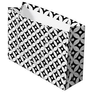 Grand Sac Cadeau Motif de pois noir et blanc moderne de cercle