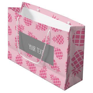 Grand Sac Cadeau Motif mignon Girly d'ananas de rose en pastel
