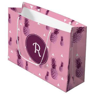 Grand Sac Cadeau Motif rose tropical de triangles d'ananas d'été
