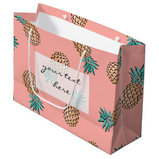 Grand Sac Cadeau motif tropical d'ananas de feuille d'or d'été