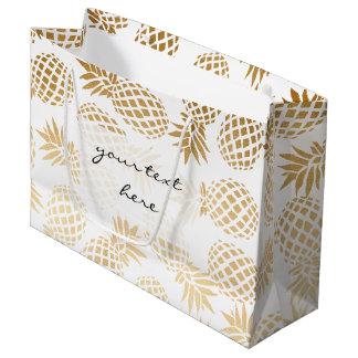 Grand Sac Cadeau motif tropical d'ananas d'or élégant de faux