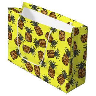 Grand Sac Cadeau motif tropical peint à la main coloré d'ananas