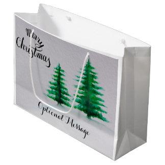 Grand Sac Cadeau Noël à feuillage persistant d'arbres d'aquarelle