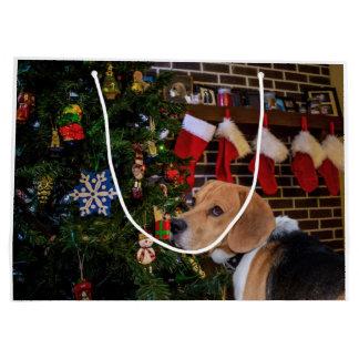 Grand Sac Cadeau Noël de beagle