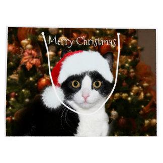 Grand Sac Cadeau Noël de chat de smoking