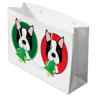 Grand Sac Cadeau Noël lunatique de Boston Terrier
