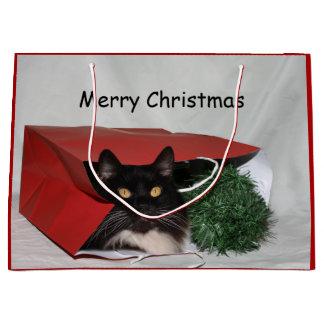 Grand Sac Cadeau Noël noir et blanc de chat