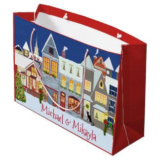 Grand Sac Cadeau Noël personnalisé de scène de rue de petite ville
