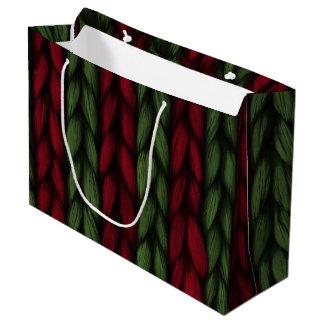 Grand Sac Cadeau Noël rouge et vert de Knit