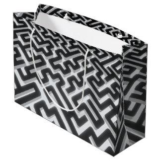 Grand Sac Cadeau Noir argenté de labyrinthe