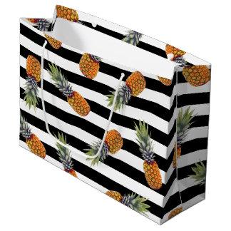 Grand Sac Cadeau Noir Girly du motif | d'ananas d'été barré