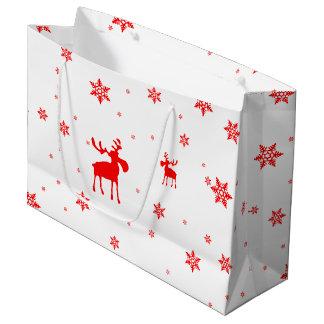 Grand Sac Cadeau Orignaux rouges et flocons de neige rouges - grand