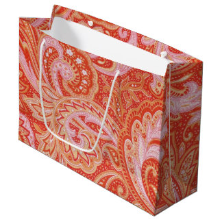 Grand Sac Cadeau Paisley orange
