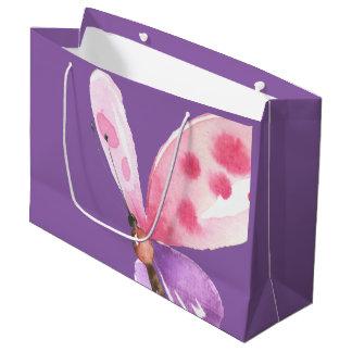 Grand Sac Cadeau Papillon rose et pourpre d'aquarelle