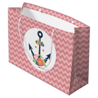 Grand Sac Cadeau Partie de douche florale de bébé d'ancre nautique