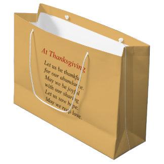 Grand Sac Cadeau Poème de thanksgiving sur l'abondance et le
