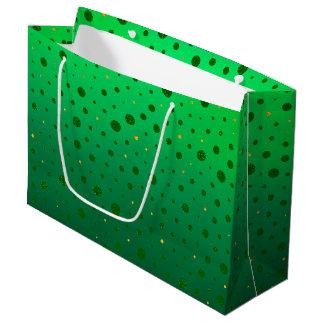 Grand Sac Cadeau Points élégants - or vert - le jour de St Patrick