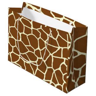 Grand Sac Cadeau Poster de animal sauvage de motif de girafe