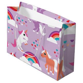 Grand Sac Cadeau Pourpre mignon d'arc-en-ciel de licorne