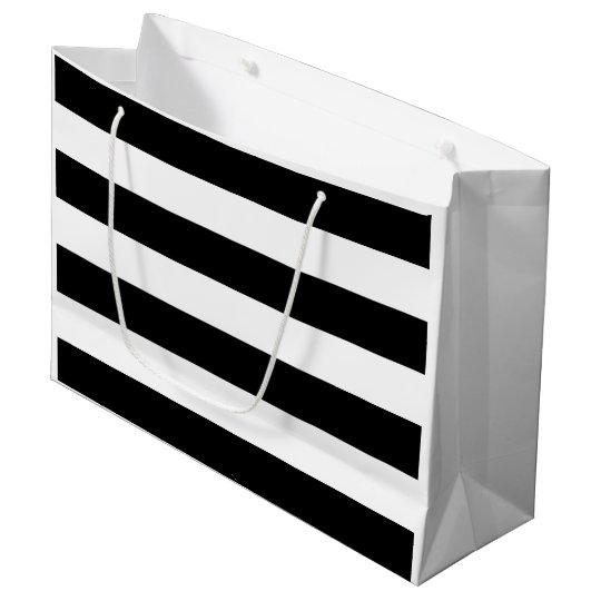 Grand Sac Cadeau Rayure noire et blanche de douche nuptiale