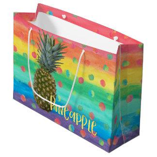Grand Sac Cadeau Rayures et points à la mode d'arc-en-ciel d'ananas