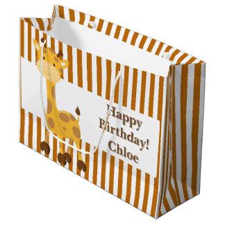 Grand Sac Cadeau Rayures Orange-Blanches grillées•Coutume