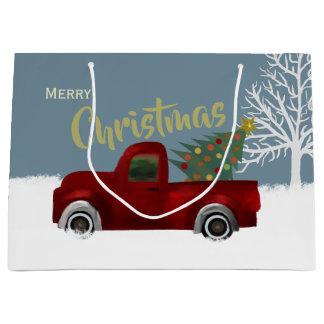 Grand Sac Cadeau Rétro arbre vintage rouge de camion et de Noël