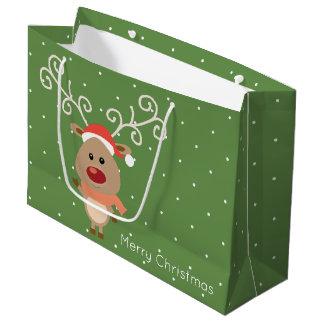 Grand Sac Cadeau Rudolph mignon la bande dessinée flairée rouge de