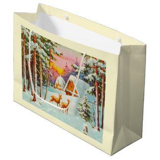 Grand Sac Cadeau Scène de neige