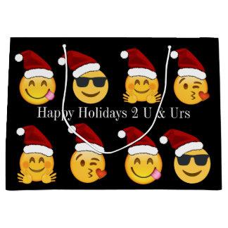 Grand Sac Cadeau Texte des vacances w/Personalized d'Emoji