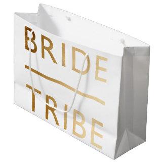 Grand Sac Cadeau texte élégant minimaliste d'or de faux de tribu de