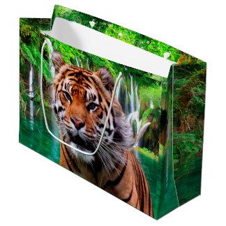 Grand Sac Cadeau Tigre et cascade