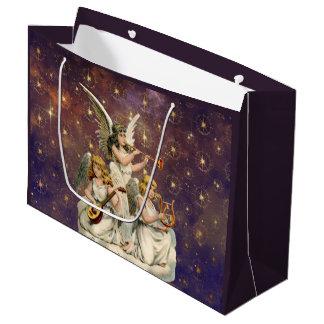 Grand Sac Cadeau Trois anges musicaux contre le ciel et les étoiles