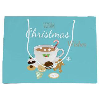 Grand Sac Cadeau Vacances de biscuits de Noël et de chocolat chaud