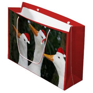 Grand Sac Cadeau Vacances de canards de Père Noël