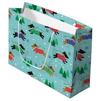 Grand Sac Cadeau Vacances de Noël de chien de Doxie de teckel