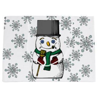 Grand Sac Cadeau Vacances d'hiver vintages de flocons de neige de