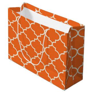 Grand sac de cadeau de motif marocain orange de