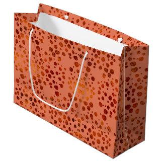 Grand sac de cadeau d'or de rose fascinant de pois