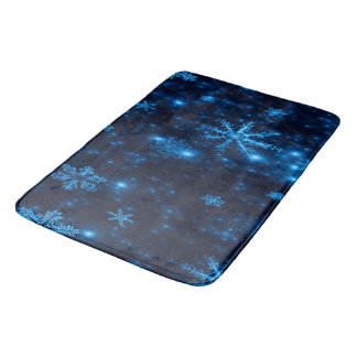 Grand tapis de bain de minuit de flocons de neige