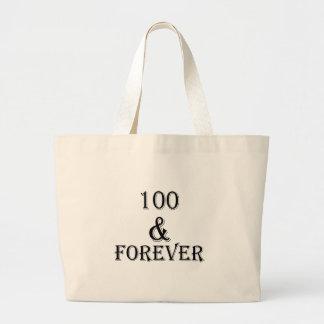 Grand Tote Bag 100 et pour toujours conceptions d'anniversaire